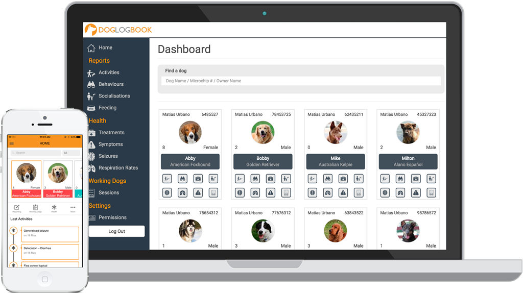 Doglogbook app dashboard showing multiple dog profiles