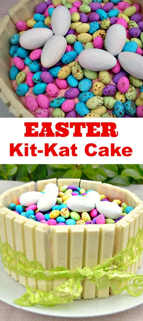 This Easter Kit-Kat Cake is so quick and easy to make, AND if you use a store-bought cake, you can have the Cake ready in minutes !