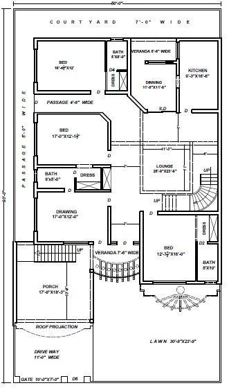 Civil Engineering: 16.5 Marla (4500 Sft) House Plan
