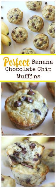 Perfect Banana Chocolate Chip Muffins! Fluffy  Moist!