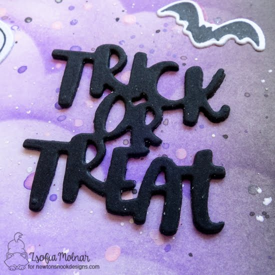 Trick or Treat Slimline Card by Zsofia Molnar | Halloween Trio Die Setand Clouds Stencil by Newton's Nook Designs #newtonsnook #handmade