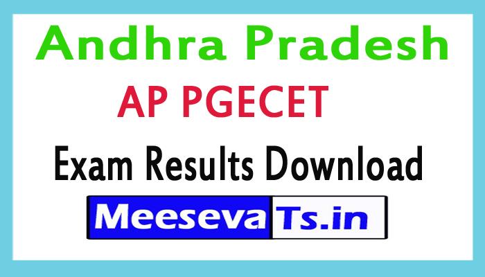 Andhra Pradesh AP PGECET Exam Results Download 2018