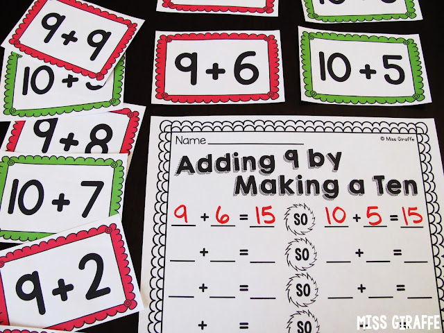 Adding 9 by making a 10 addition strategy and lots of other fun ways to teach make a 10 to add