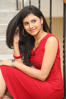 Mounika Telugu Actress in Red Sleeveless Dress Black Boots Spicy Pics 056.JPG