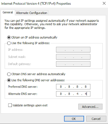 Menggubah DNS client ke Google Publik Server