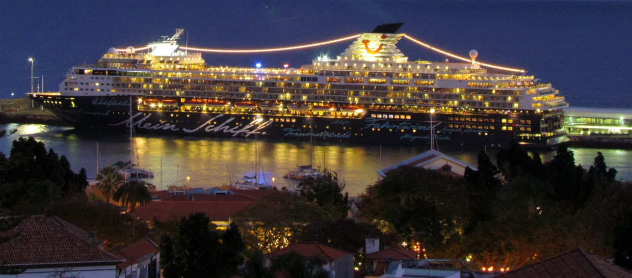 the Mein Schiff cruise ship in a fantastic night in Funchal port