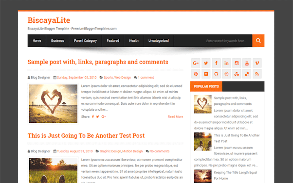 BiscayaLite Free Blogger Template
