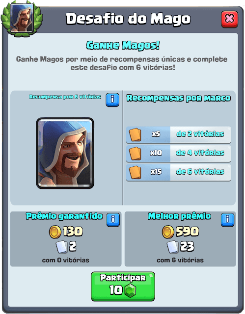 O desafio do Mago no Clash Royale
