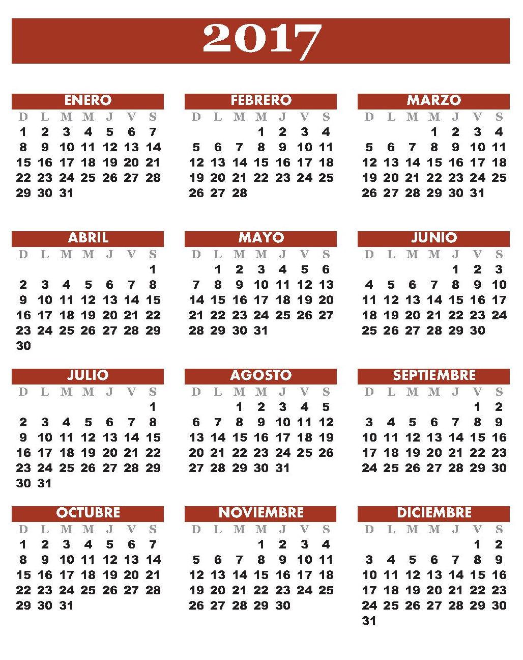 Almanaques y feriados 2017: mayo 2016