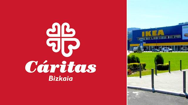 Logo de Cáritas e imagen de la tienda de Ikea en Barakaldo
