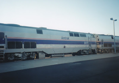 Amtrak B40-8P #817 at Midway Station in St. Paul, Minnesota, on July 25, 1999
