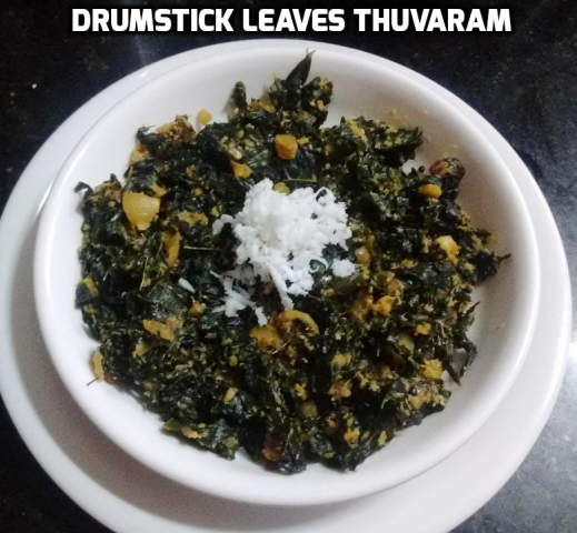 This drumstick leaves thuvaram is a unique side dish for sambar and puli kuzhambu. They're made with little cooked toor dal and ground coconut, jeera paste. Finally 1 tbsp of coconut oil is added to enhance the taste and it prevents the leaves to stick each other. This drumstick leaves thuvaram/stir fry is a best side dish for pulikuzhambu, sambar and any South Indian kuzhambu varieties. Let's see how to prepare this Drumstick leaves thuvaram with step by step photos