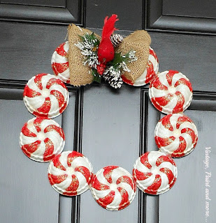 Vintage, Paint and more... wreath made with vintage jello molds painted and glittered