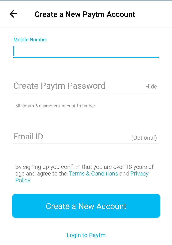 Paytm Account Create and Login ~ Pay Earn
