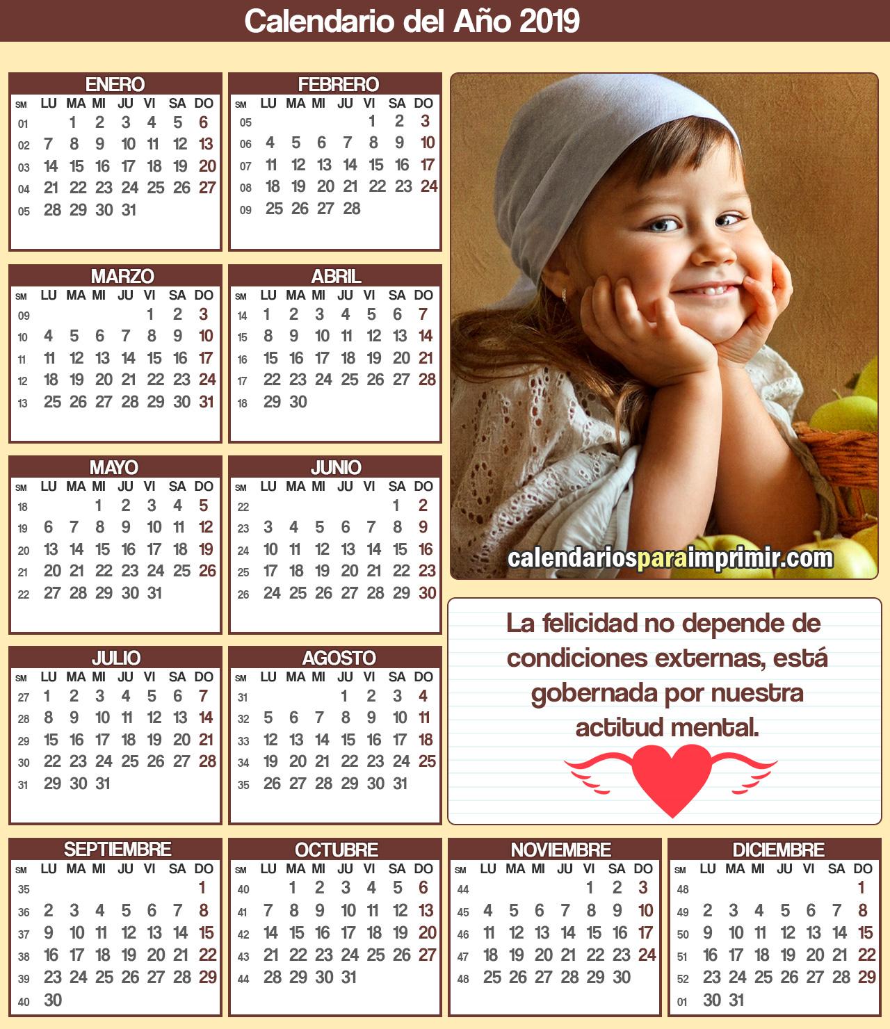 calendarios para imprimir 2019 frases de felicidad