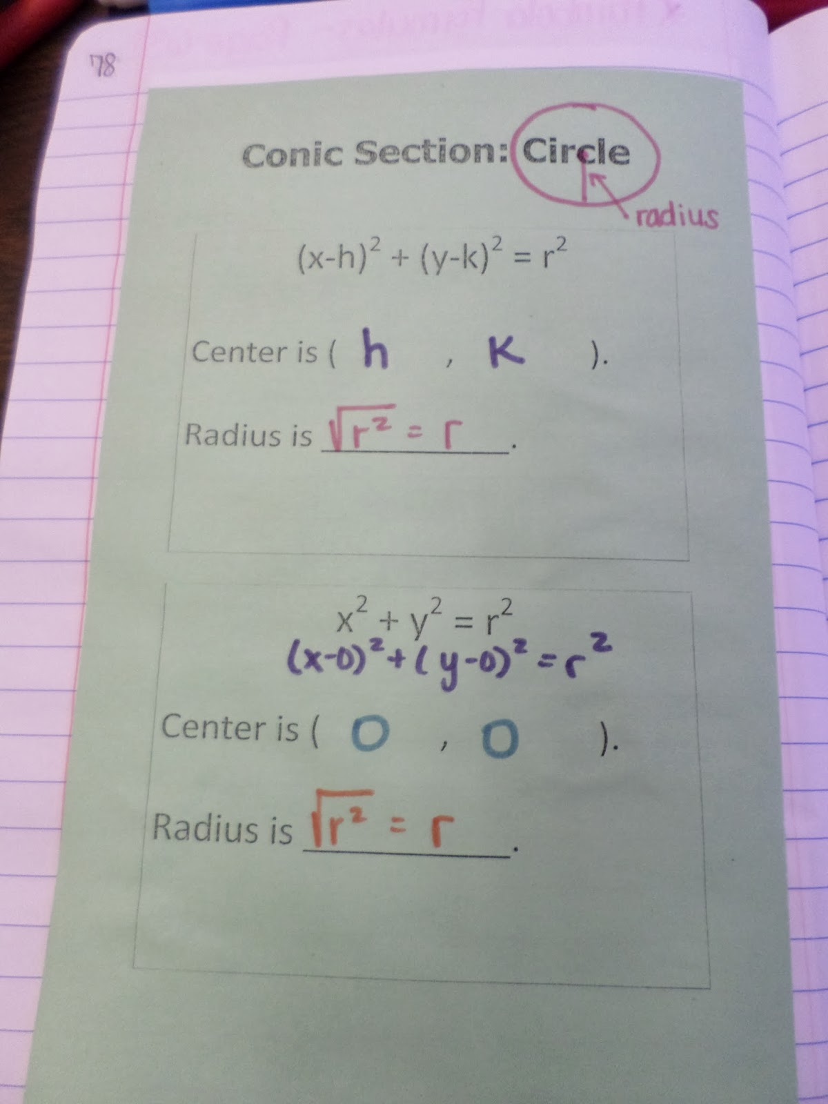 Math Love Conic Section Interactive Notebook Pages