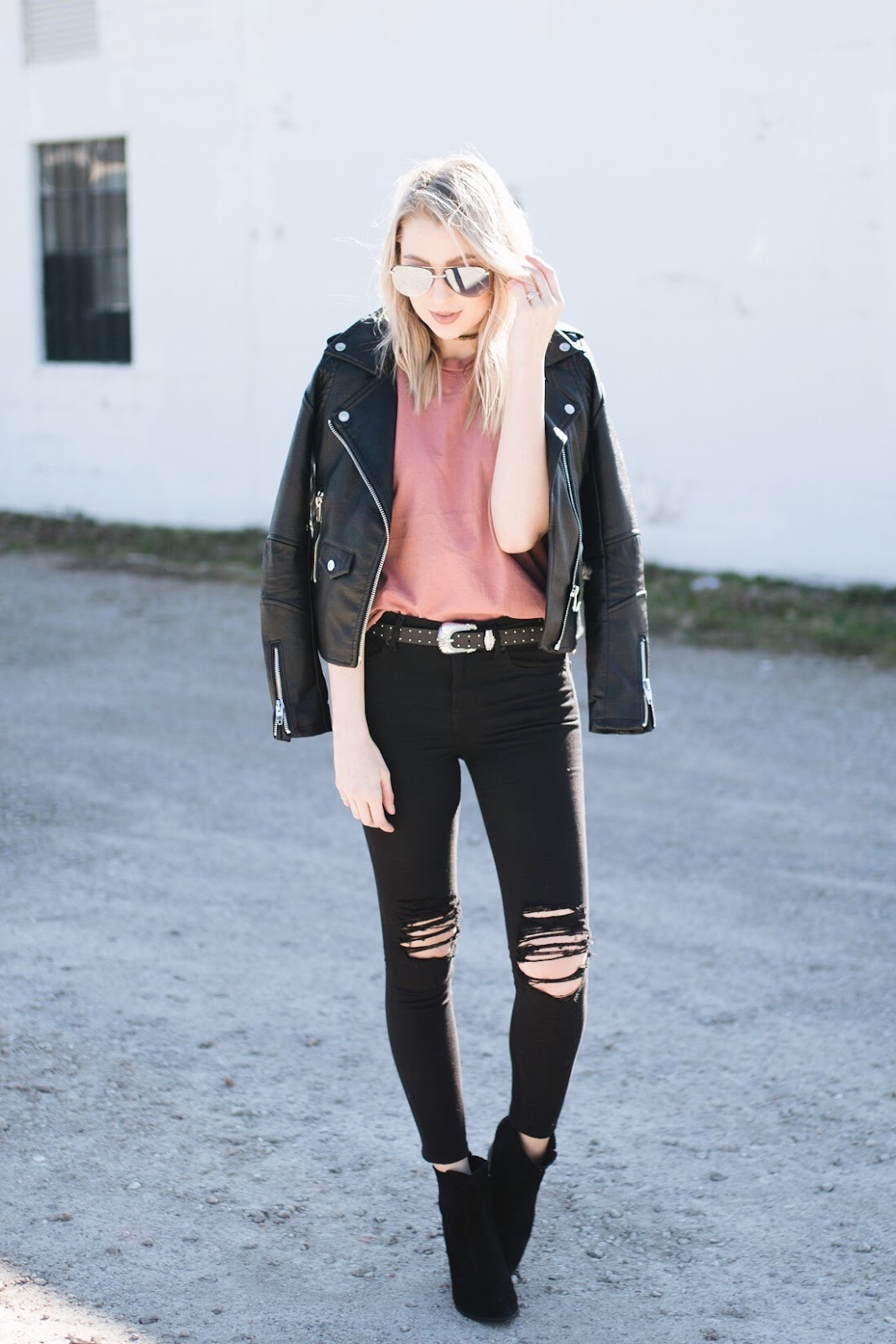 Dusty rose paired with all-black