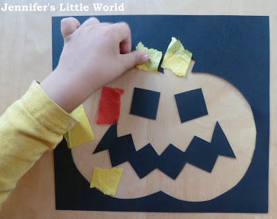 Child crafting for Halloween