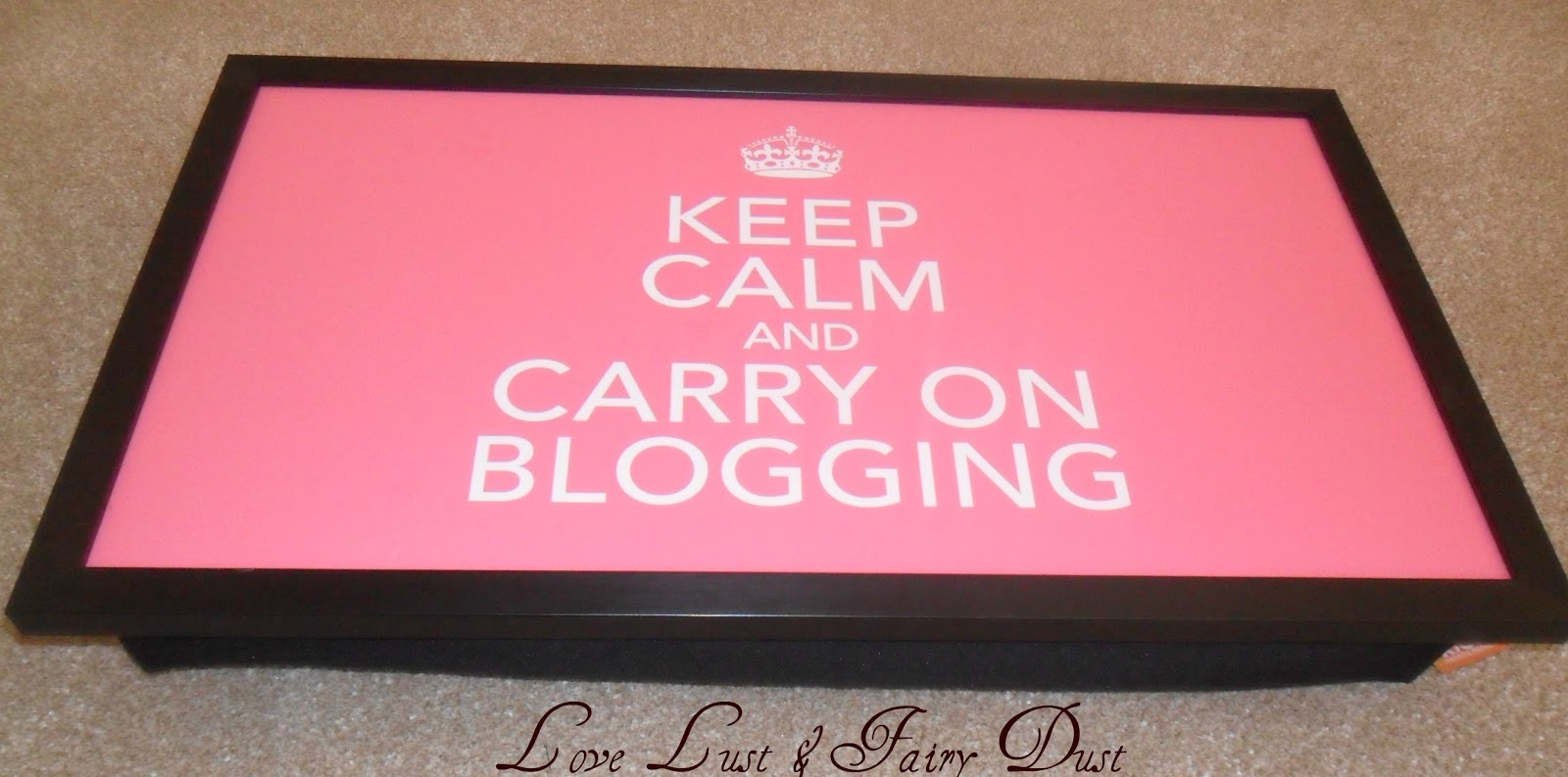 keep calm and carry on blogging laptop tray from Kico