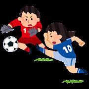 ゴールへのシュートのイラスト(女子サッカー)