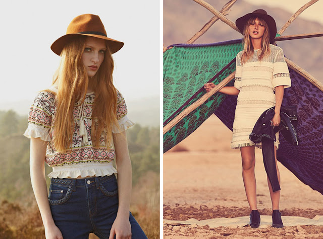 Девушка в фетровой шляпе федоре летом в стиле бохо
