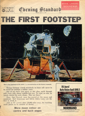 Men On The Moon Vintage Newspapers With The News