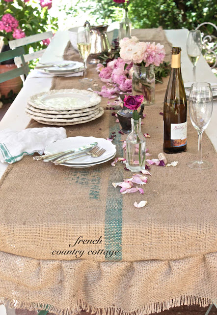 coffee bean sack table runner by French Country Cottage via Funky Junk Interiors