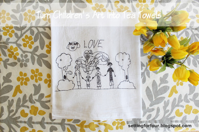 Learn How To Turn Kids Art Into Tea Towels using your kid's art! Fun way to decorate your kitchen. DIY tutorial and supply info included. Great gift idea!