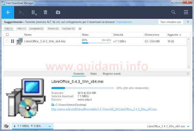 Free Download Manager interfaccia grafica