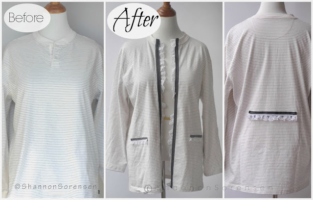 refashion men's shirt to women's cardigan