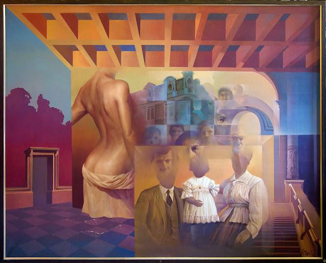 José Marí pintura surrealista arte gran formato lienzo familia