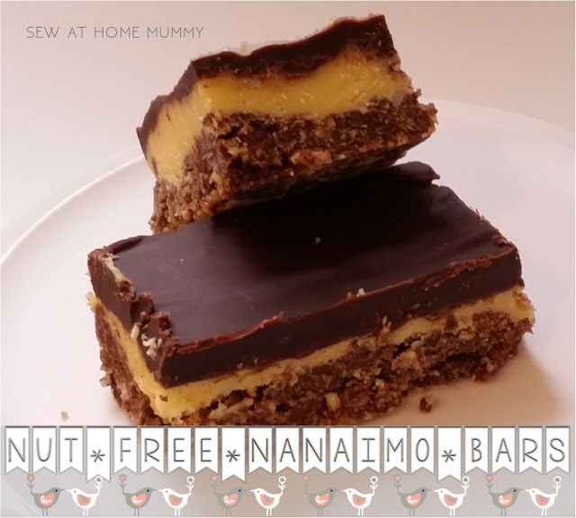 Nut free Nanaimo Bar recipe. 30 minutes or less for this delicious West Coast Canadian treat. Nut allergy friendly. || Sew at Home Mummy