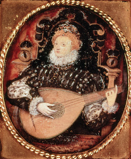 Miniature of Queen Elizabeth playing the lute