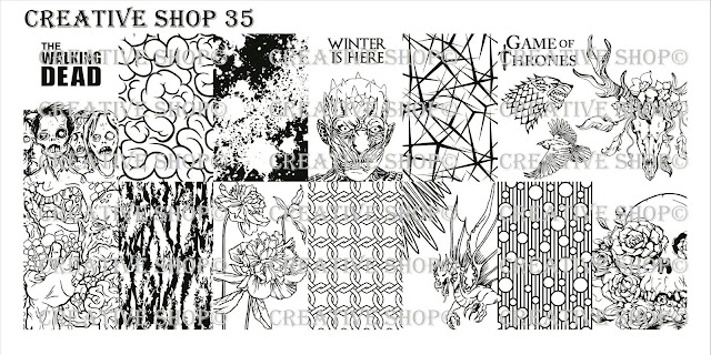 Lacquer Lockdown - Halloween, halloween nail art, halloween nail art stamping plates, nail art, nail art stamping ideas, holiday nail art, stamping plates, Creative Shop, Game of Thrones, winter king, the walking dead, brains, zombies