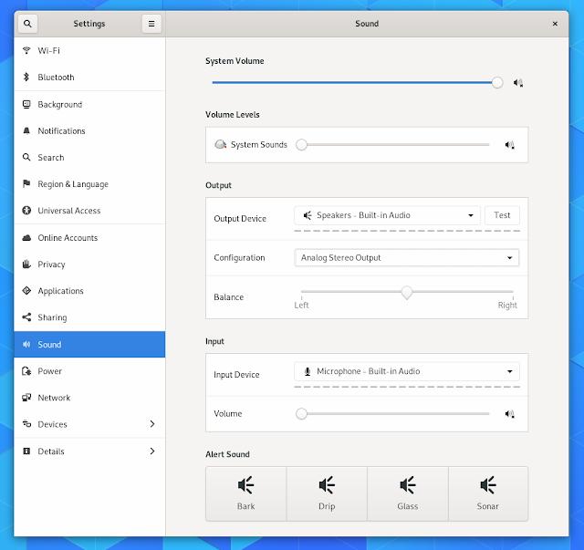 GNOME 3.32 sound settings