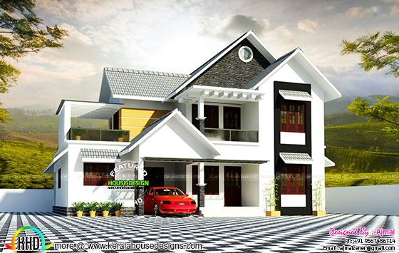 2300 square feet sloping roof house