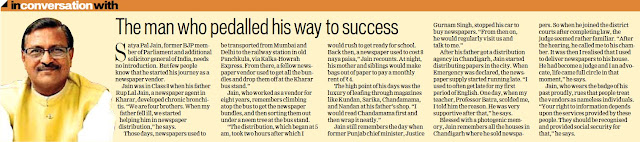 'The man who pedalled his way to success' - Satya Pal Jain