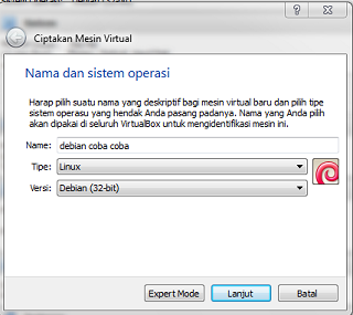 install debian server di virtual box