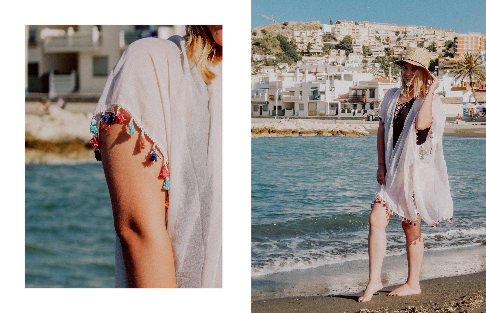 2A szaleo wakacje w maladze malaga jak spędzić wakacje co zobaczyć stylizacja na plaże pareo składany kapelusz słomkowy modne dodatki na wakacje na plażę z frędzlami z pomponami hiszpania polski kraj język ceny outfit