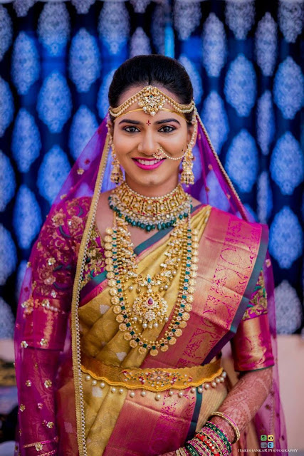 Bride in Ram Parivar Set Pachi Mango Necklace