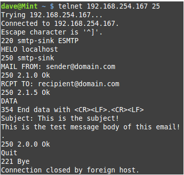 DFIRDave: SMTP Testing With smtp-sink and PyEmailTest