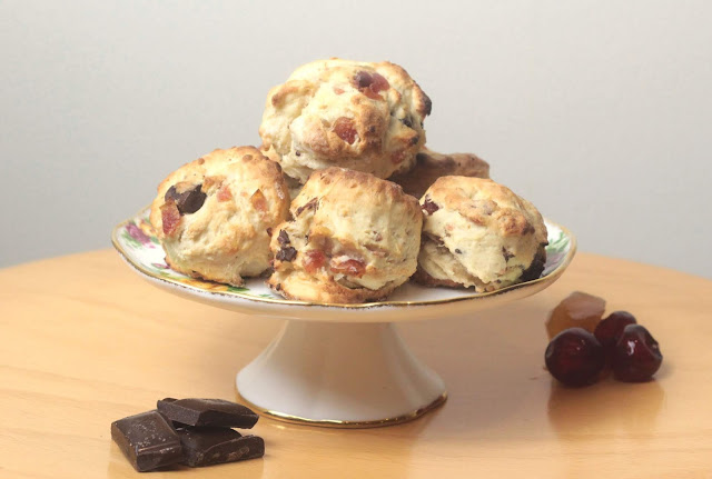 Cherry, Chocolate And Ginger Scones