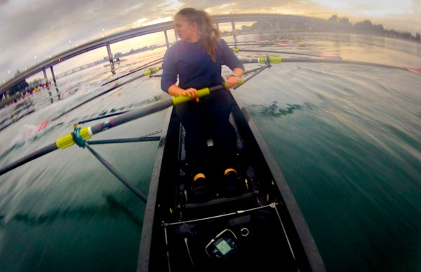 Rowers training on Mission Bay