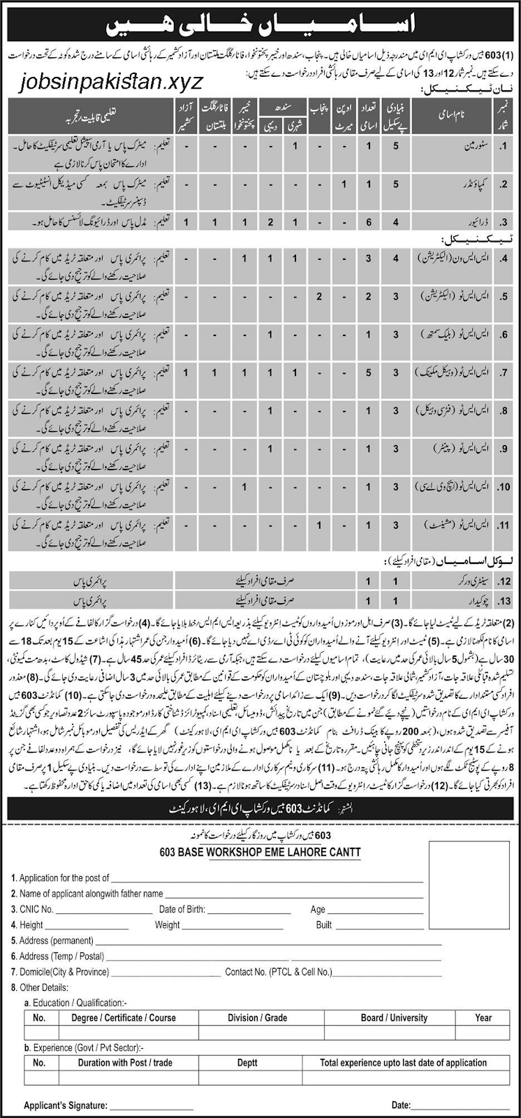 Advertisement for 609 Regional Workshop EME Jobs 2018