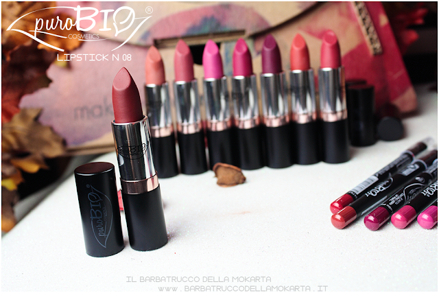 lipstick n 08 ,  rossetti purobio , lipstick, vegan makeup, bio makeup