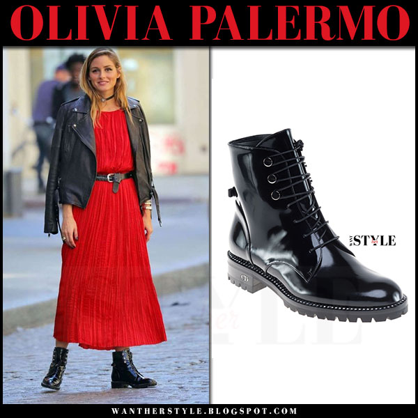 Olivia Palermo in red pleated dress and black patent ankle boots dior rebelle what she wore street style