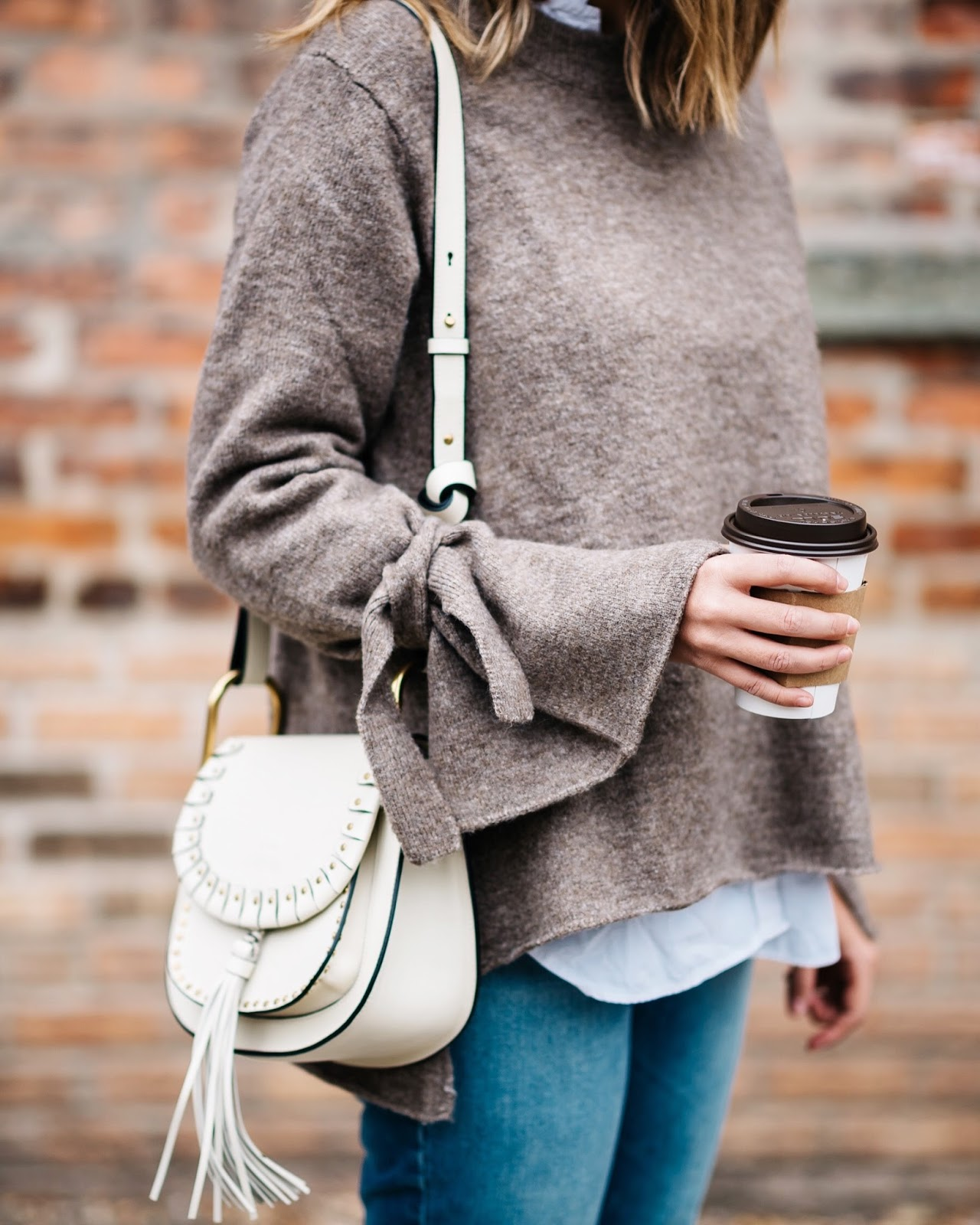 4f0b4fe2 Zara sweater (similar and shop tie sleeves here), Chloé bag, Frame jeans  (shop Frame here)