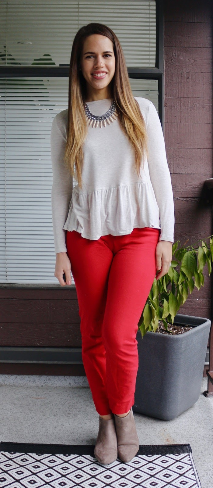 Jules in Flats - Peplum Top and Red Ankle Pants for Work