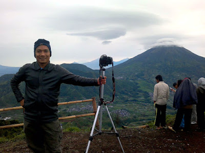 Selfie with Mt. Sindoro as background.