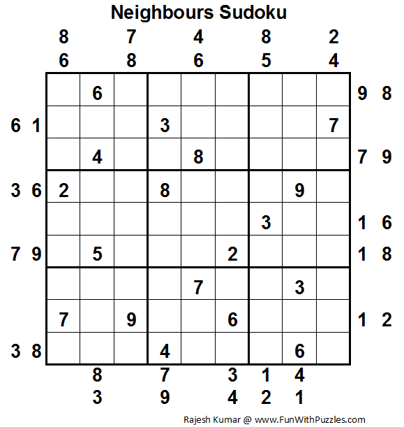 Neighbours Sudoku (Fun With Sudoku #19)